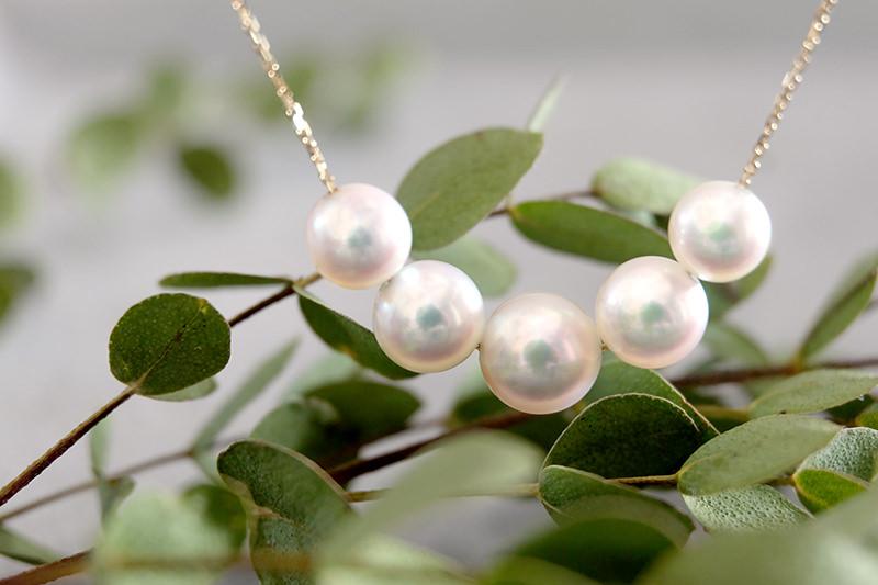 アコヤ真珠5粒スルーネックレス(人魚の泡の首飾り)